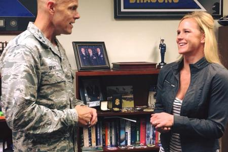 UFC superstar Holly Holm visits Joint Base San Antonio